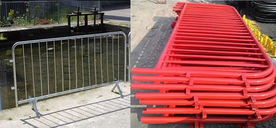 Cross Base Mobile Barrier Made of Steel Tubes Welded and Powder Coated Red or Other Colors